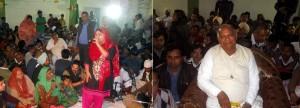 गायका निशा खान भंजन प्रस्तुत करते हुए व रूलदु बाबा जी आर्शीवाद देते हुए। (छाया जिंदल)